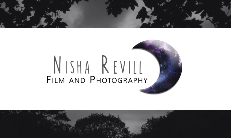 Logo update business cards lights and motion business card with galaxy moon and black and white border front colourmoves